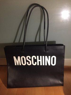 Moschino Tasche Shopper Schultertasche schwarz weiß Logo Leder neu