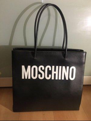 Moschino Tasche Shopper Schultertasche schwarz weiß Logo Leder neuwertig