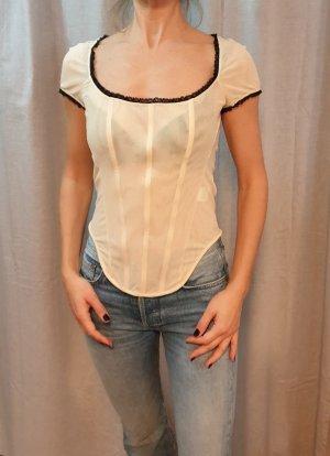 Boutique Moschino Top gorsetowy kremowy Sztuczne włókno