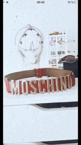 Moschino vintage gürtel Gold rot Leder