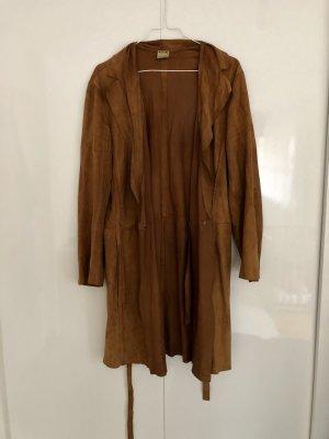 Moschino Manteau en cuir brun-cognac daim
