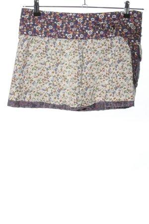 Moshiki Jupe portefeuille blanc-violet motif de fleur style décontracté