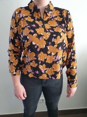 Moss Copenhagen MSCH, langarm Bluse mit floralem Muster, Reißverschluss, Gr. 40