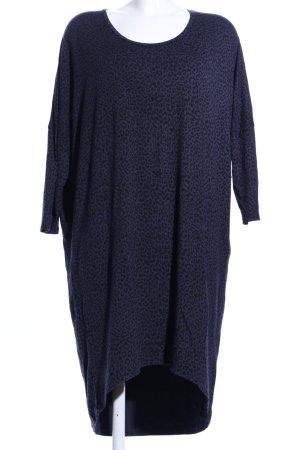 Moss Copenhagen Shirtkleid blau-schwarz Allover-Druck Casual-Look