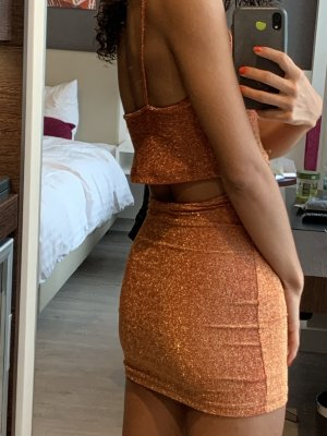 Motel Jersey twin set oranje-goud Oranje