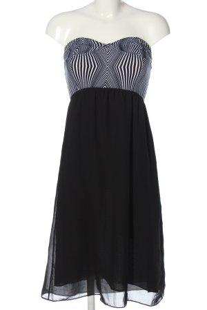 Motel Rocks Off-The-Shoulder Dress black-white striped pattern classic style