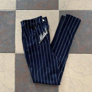 Motel Rocks High Waist Trousers dark blue-white