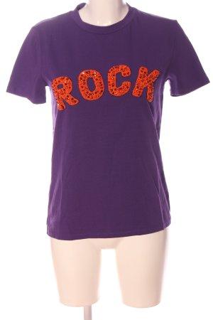 Motel T-shirt lilla-arancione chiaro caratteri stampati stile casual
