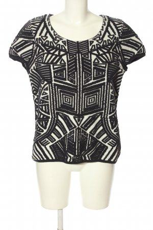MOTH T-shirts en mailles tricotées blanc-noir imprimé allover