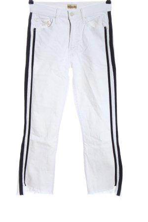 Mother Jeans a vita alta bianco-nero motivo a righe stile casual