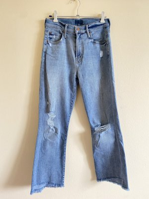 Mother Jeans bootcut blanc-bleu azur coton