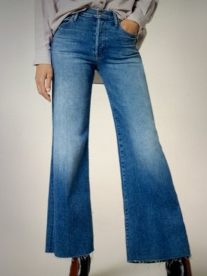 Mother Jeans a vita alta blu scuro Cotone