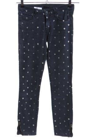Mother Jeans skinny blu-bianco stampa integrale stile casual