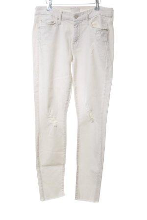Mother Jeans skinny bianco sporco stile da moda di strada