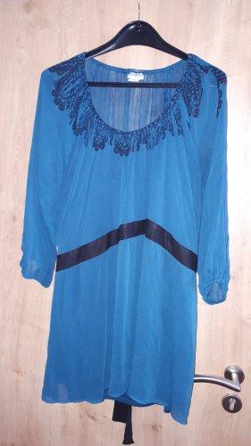 Tunique de plage bleu cadet-bleu pétrole polyester