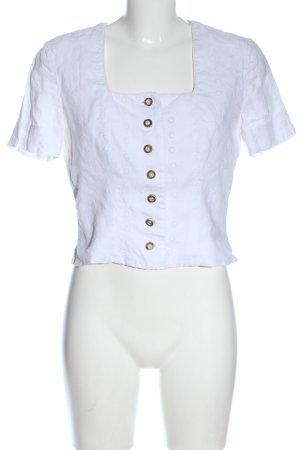 Mothwurf Short Sleeved Blouse white flower pattern elegant