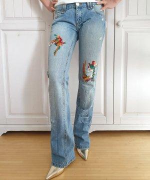 Motivi 34 XS Vinted Schlaghose Retro Schlagjeans Hose Jeans Bestickt Ripped Zerrissen Pants Jogger
