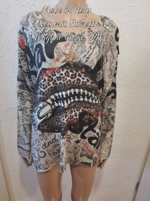 Made in Italy Pull oversize noir-beige clair