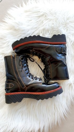 Coach Lace-up Booties black-red