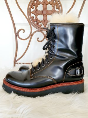 Moto Hiker Boots Lammfell Leder Wanderstiefel Stiefel Schnürboots Coach 37