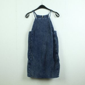 Topshop Moto Cargo Dress steel blue cotton