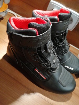 FLM Biker Boots black-red