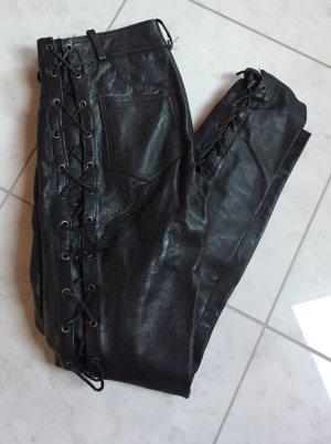 Motorradhose mit Schnüre - Lederhose - Schwarz Gr. S