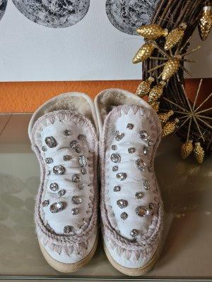 MOU Boots Futrzane buty w kolorze białej wełny
