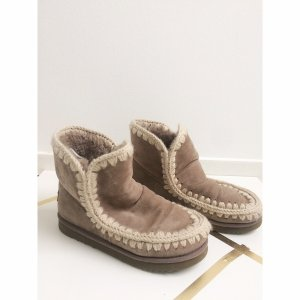 MOU Eskimo Boots 39 40 Braun Grau Winter Schafsfell Schuhe Taupe Braun