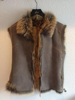 Smanicato di pelliccia argento-marrone chiaro Pelliccia