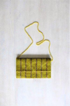 Moyna New York Tasche Perle Paillette Clutch Gatsby Flapper gold gelb vintage 20er