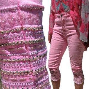Mozzaar Capri Baggy Jeans Damen Neon pink gelb grün S-M-L-XL-2XL Short Hose kurz