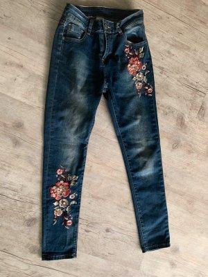 Mozzaar Jeans - DarkblueDenim/Rosé - Größe XS 32/34 - Flower