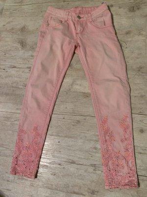 Mozzaar Jeans/Skinny - LightPink/Rosé - Bestickt - 7/8-Länge - Größe XS 32/34