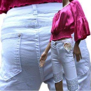 Mozzaar Short kurze Hose Damen Jeans Stickerei M