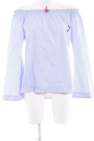 Mrs. Foxworthy Carmen-Bluse wollweiß-himmelblau Streifenmuster