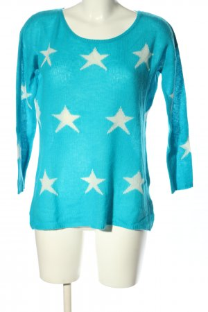 Mrs & HUGS Cashmere Jumper blue themed print casual look
