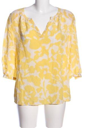 Mrs & HUGS Langarm-Bluse blassgelb-weiß abstraktes Muster Business-Look
