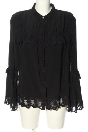 Mrs & HUGS Langarm-Bluse schwarz Elegant