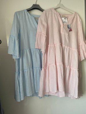 Mrs & HUGS Leinenkleid Etagenkleid Neu Rose oder blau