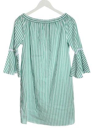Mrs & HUGS Minikleid grün-weiß Streifenmuster Casual-Look