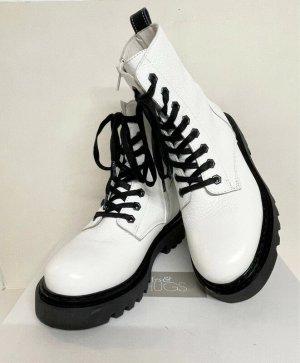 Mrs & HUGS Bottines à plateforme blanc-noir cuir
