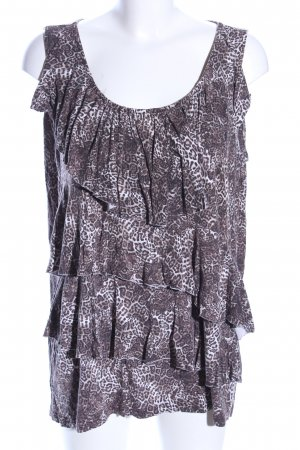 MS Moda V-Ausschnitt-Shirt braun-weiß Allover-Druck Casual-Look