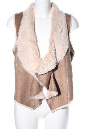 Vest van imitatiebont wolwit-bruin casual uitstraling