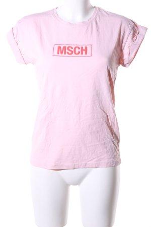 MSCH Copenhagen Print-Shirt pink Schriftzug gedruckt Casual-Look