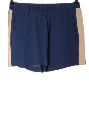 MSGM Pantalón corto de talle alto azul-nude look casual