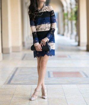 Msgm klassisches Kleid gestreift blau beige schwarz Spitze