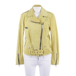 MSGM Biker Jacket neon yellow leather