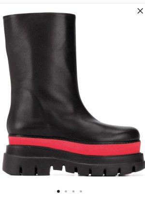 MSGM Botte à plateforme noir-rouge cuir
