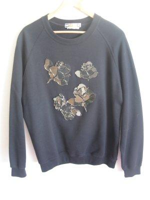 MSGM Sweater schwarz mit Glas Applikationen